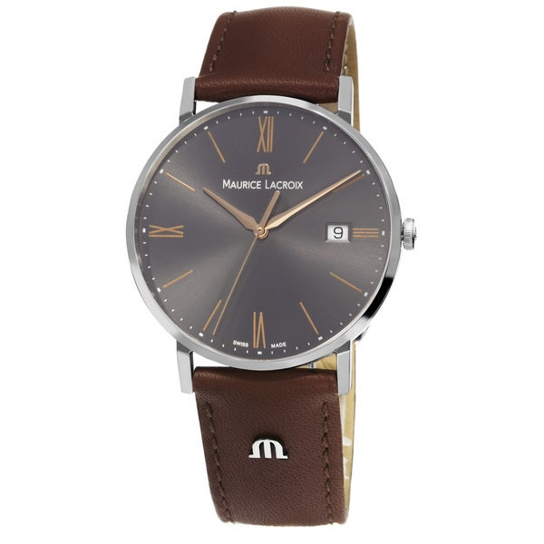 Maurice Lacroix Men's EL1087-SS001-811 'Eliros' Grey Dial Brown Leather Strap Watch