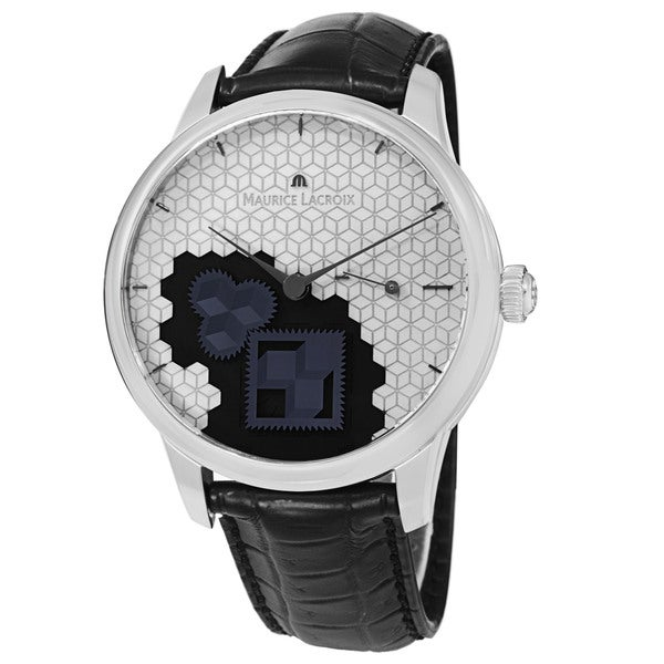 Maurice Lacroix Men's MP7158-SS001-909 'MasterPiece' Silver Dial Black Leather Strap Square Wheel Watch