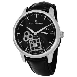 Maurice Lacroix Men's MP7158-SS001-301 'MasterPiece' Black Dial Black Leather Strap Square Wheel Watch