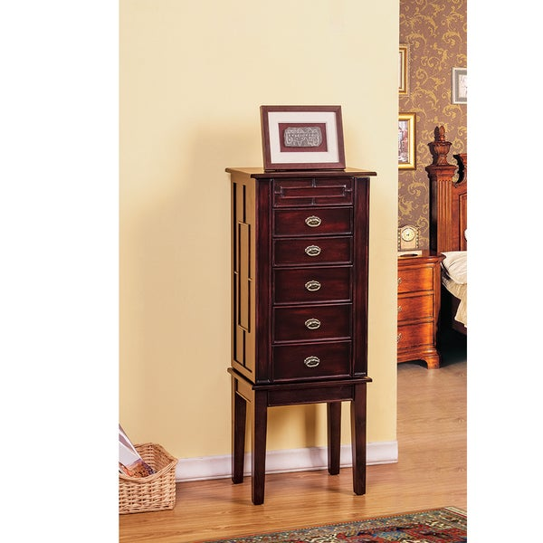 W Unlimited Augusta Felt Drawer Poplar Wood Jewelry Armoire with Top Compartment Mirror (Set of 5), Brown/ Coffee