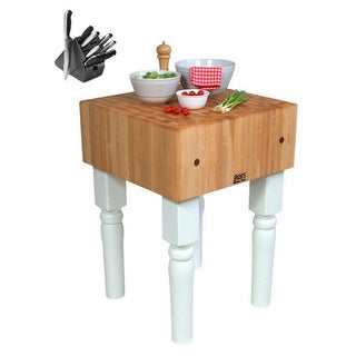 John Boos Alabaster White Butcher Block 18 x 18 Table with Casters and Henckels 13-piece Knife Block Set