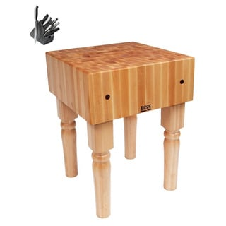 John Boos Natural Finish Butcher Block 24 x 24 x 36 Table with Casters and Henckels 13-piece Knife Block Set