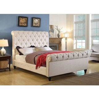 ABBYSON LIVING Mulberry Ivory Linen Sleigh Upholstered Bed