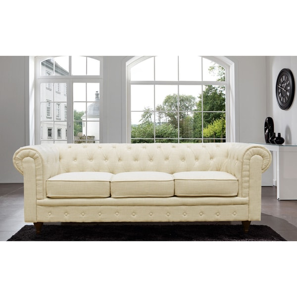 Madison Home Chesterfield Linen Tufted Scroll Arm Cream Color Sofa