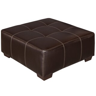 Black/ Brown Bonded Leather Ottoman