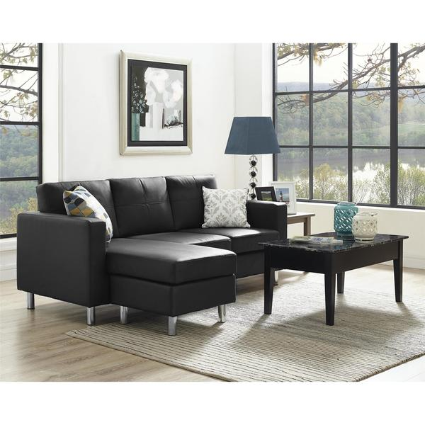 Avenue greene small spaces black faux leather configurable for Small spaces sectional sofa black faux leather