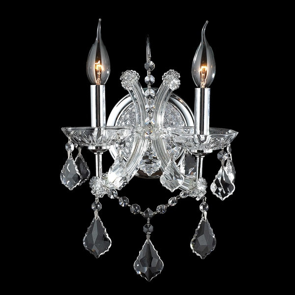 Classic Italian 2 Light Clear Crystal Candle Wall Sconce Light