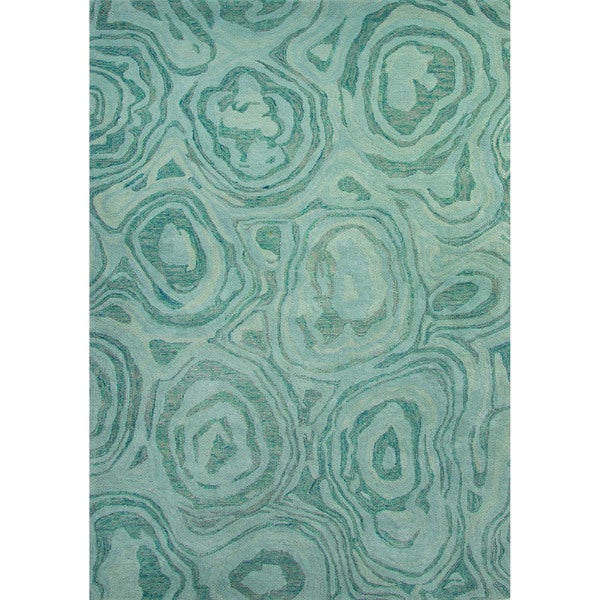 Hand Tufted Abstract Pattern Blue Haze Mineral Blue Wool