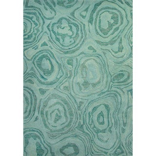 Hand-Tufted Abstract Pattern Blue haze/Mineral blue Wool (8x10) Area Rug
