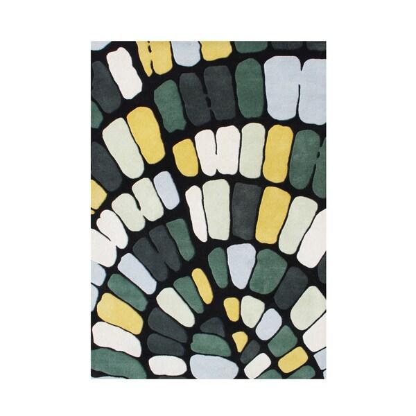 Handmade Alliyah Forest Green New Zealand Blend Wool Rug (5x8)