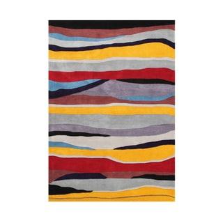 Handmade Alliyah Opal Gray New Zealand Blend Wool Rug (5x8)
