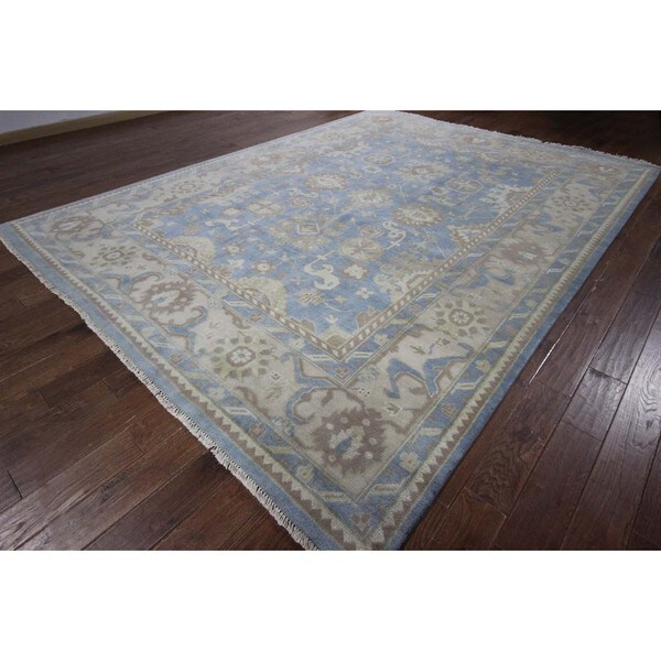 New Traditional Persian Iris Blue Oushak Hand Knotted Wool Area Rug (8'9 x 11'8)