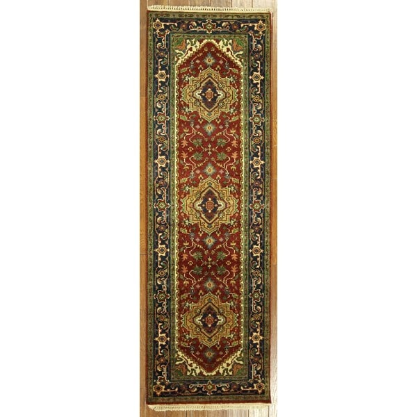 Unique Vibrance Burgundy/Navy Blue Serapi Heriz Wool Hand Knotted Rug (2'6 x 7'10)