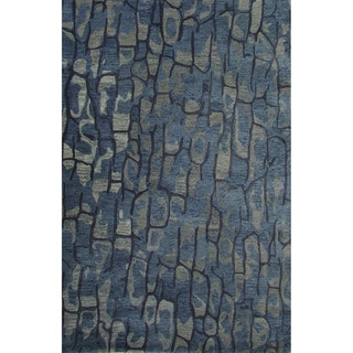 Hand-Tufted Abstract Pattern Blue shadow/Dark denim Wool (8x10) Area Rug