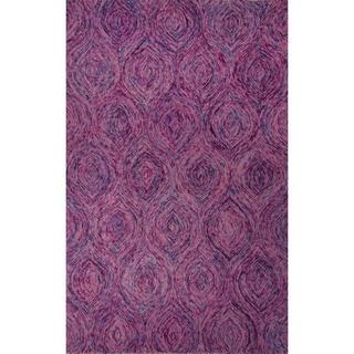 Hand-Tufted Abstract Pattern Keepsake lilac/Aegean blue Wool (8x10) Area Rug