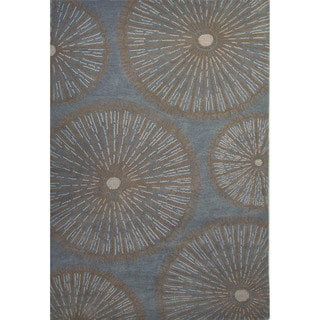Hand-Tufted Geometric Pattern Wild dove/Curry Wool (8x10) Area Rug