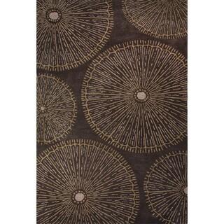 Hand-Tufted Geometric Pattern Gargoyle/Lark Wool (8x10) Area Rug