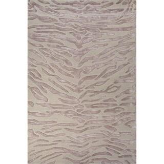 Hand-Tufted Animal Pattern Opal gray/Blue fox Wool (8x10) Area Rug
