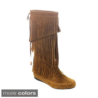 Axny Mudd-70 Women's 3-layer Bow Tie Deco Tassel Mid-calf Boots