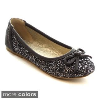 MI.IM Genie-04 Women's Round Toe Glitter Lovely Bow Slip On Ballet Flats