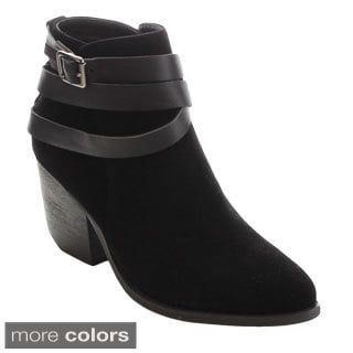 MI.IM Tess-03 Women's Criss Cross Strappy Chunky Ankle Booties