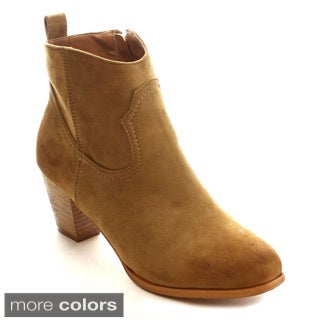 MI.IM Tiff-02 Women's Stitching Stacked Chunky Heel Ankle Booties
