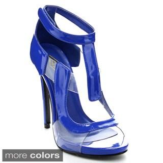 Athena Amanda Women's Transparent Ankle Strap Stiletto Heel Pumps