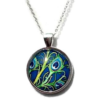 Atkinson Creations Blue Peacock Feather Glass Dome Necklace