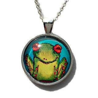 Atkinson Creations Funny Green Frog on a Blue Background Glass Dome Necklace