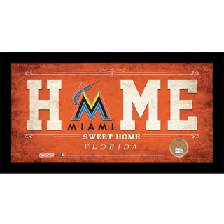 Florida Marlins 10x20 Home Sweet Home Sign with Game-Used Dirt from Marlins Park