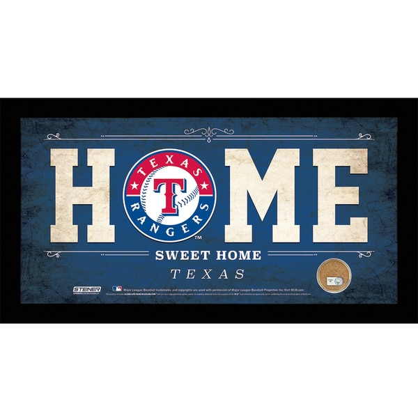 Texas Rangers 6x12 Home Sweet Home Sign with Game-Used Dirt from Rangers Ballpark in Arlington