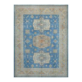 Herat Oriental Afghan Hand-knotted Tribal Vegetable Dye Oushak Blue/ Gold Wool Rug (8'11 x 12')
