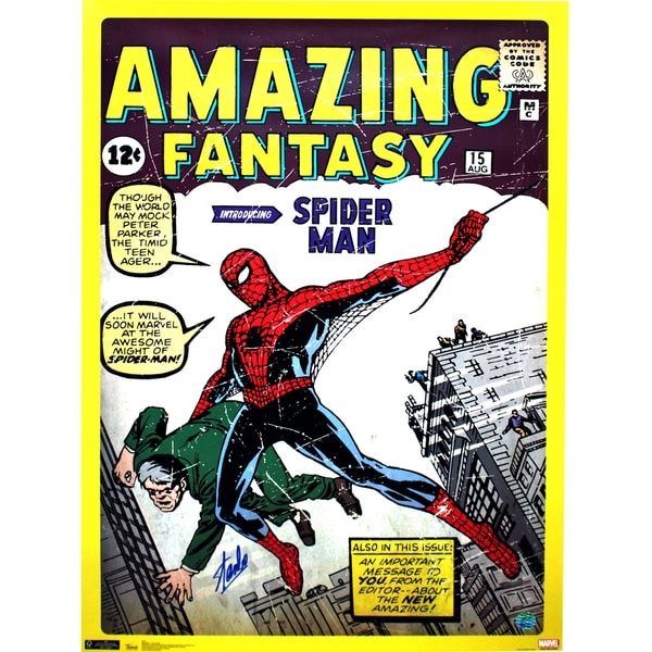 Stan Lee Signed Spider Man First Edition Cover 24x36 Poster (Stan Lee Holo Only)