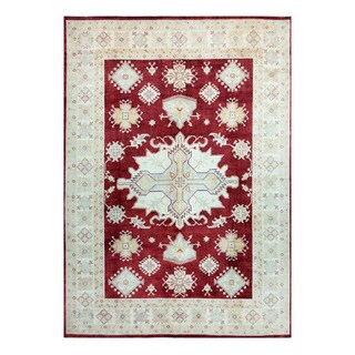 Herat Oriental Afghan Hand-knotted Tribal Vegetable Dye Oushak Red/ Ivory Wool Rug (9'9 x 13'9)