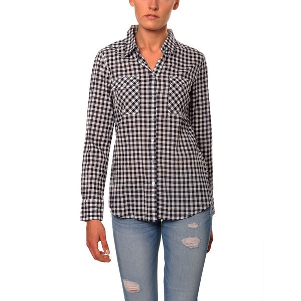 Women's Gingham Two Pocket Button Down Shirt