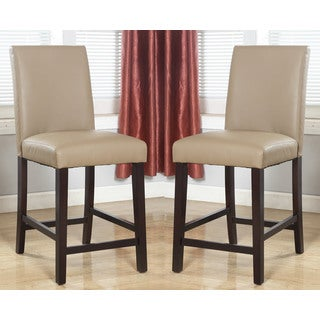 Abbyson Living Laura Beige Bonded Leather Counter Stool (Set of 2)