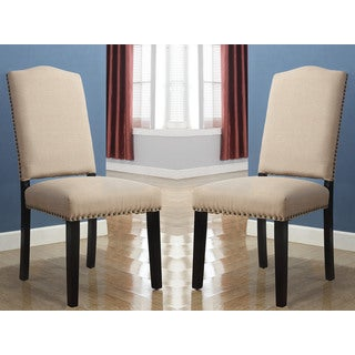 Abbyson Living Sophie Beige Linen Nailhead Dining Chair (Set of 2)