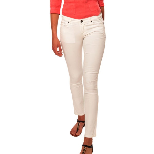 Women's Solid White Skinny Jeans
