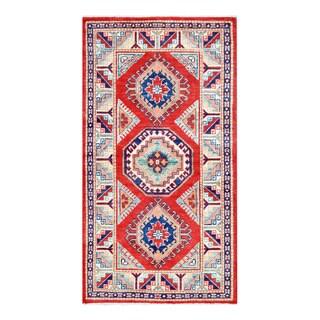 Herat Oriental Afghan Hand-knotted Tribal Vegetable Dye Super Kazak Red/ Ivory Wool Rug (2'10 x 5'2)