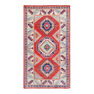 Herat Oriental Afghan Hand-knotted Tribal Vegetable Dye Super Kazak Red/ Ivory Wool Rug (2'10 x 5'1)