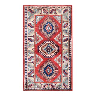 Herat Oriental Afghan Hand-knotted Tribal Super Kazak Red/ Ivory Wool Rug (2'10 x 4'11)