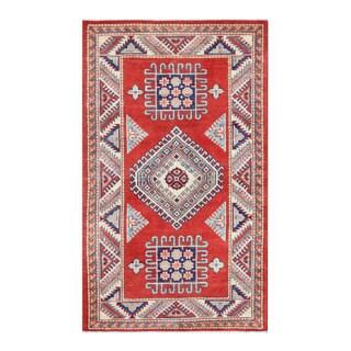 Herat Oriental Afghan Hand-knotted Tribal Super Kazak Red/ Ivory Wool Rug (2'11 x 5')