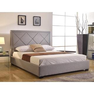 Abbyson Living Sonoma Grey Linen Platform Upholstered Bed