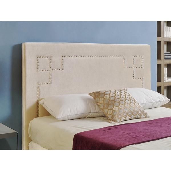 Abbyson Living Deco Ivory Velvet Nailhead Trim Upholstered Headboard