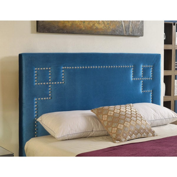 Abbyson Living Deco Blue Velvet Nailhead Trim Upholstered Headboard