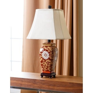 Abbyson Living Hand Painted Asian Red Floral Table Lamp