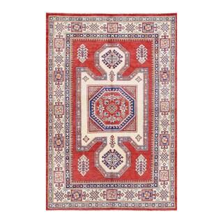 Herat Oriental Afghan Hand-knotted Tribal Super Kazak Red/ Ivory Wool Rug (4'11 x 7'3)