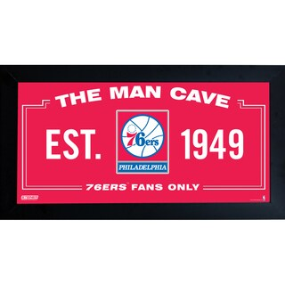 Philadelphia 76ers Man Cave Sign 10x20 Framed Photo