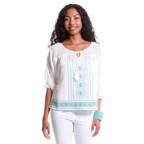 Hadari Women's Embroidered Tunic Blouse