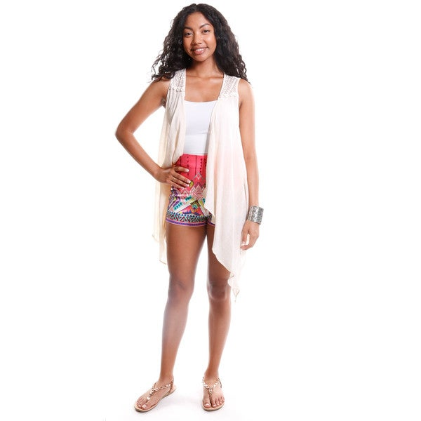 Hadari Women's Crochet Lace Draped Vest and Tribal Print High Waisted Shorts (2 Piece Outfit)